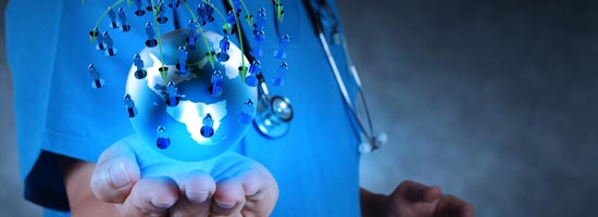 Medical Doctor holding a world gobe in her hands,   Concept Of World Health