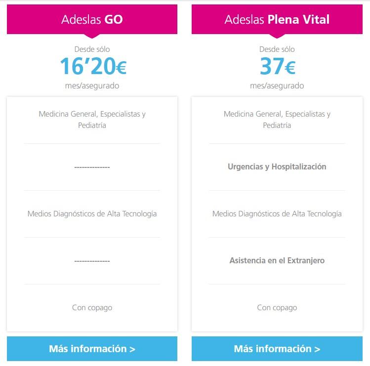 Informacion Adeslas Go y Adeslas Plena Vital