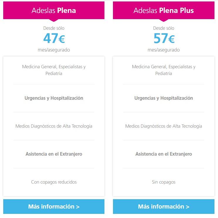 informacion Adeslas Plena y Adeslas Plena Plus