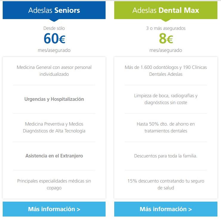 Información Adeslas Senior y Adeslas Dental Max